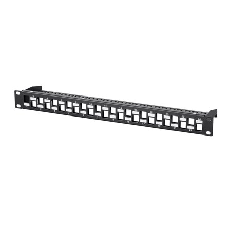 Monoprice Blank Keystone UTP Patch Panel - 24 Ports, Networking, 1U, With Wire Support Bar ()