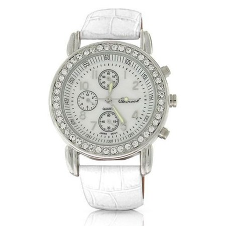 Gemstone Bezel Leather Strap Watch (Deco Style Round Crystal Bezel White Dial Fashion Wrist Watch For Women Faux White Crocodile Leather Band Steel Back)