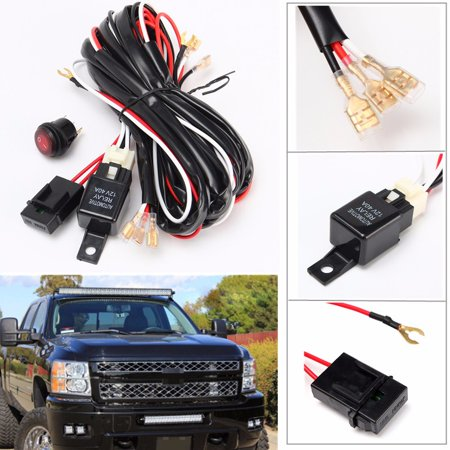 14V 40A 300W Cable Lines Offroad LED Driving Light Bar Extention Wire Relay Fog Lamp Wiring Loom Harness Kit Fuse Power Off 4x4