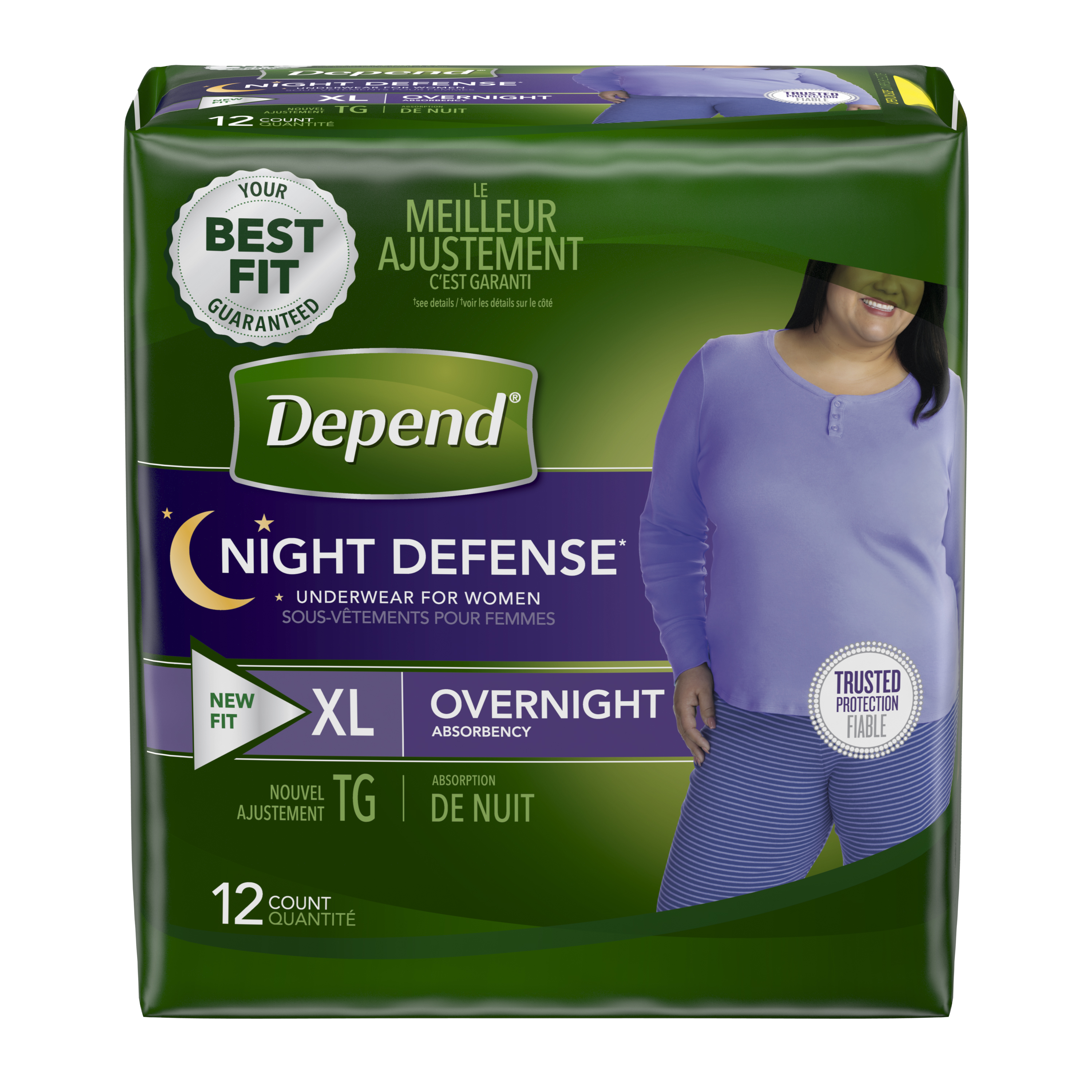 Depend Night Defense Incontinence Overnight Underwear for Women, XL, 12 Ct