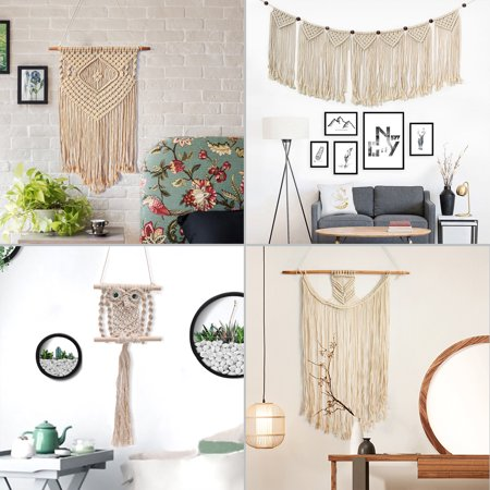 Macrame Wall Hangings (Multi-style Bohemian Handmade Knitted Woven Macrame Wall Hanging Tapestry Home Bedroom Wedding Wall Art Decor)