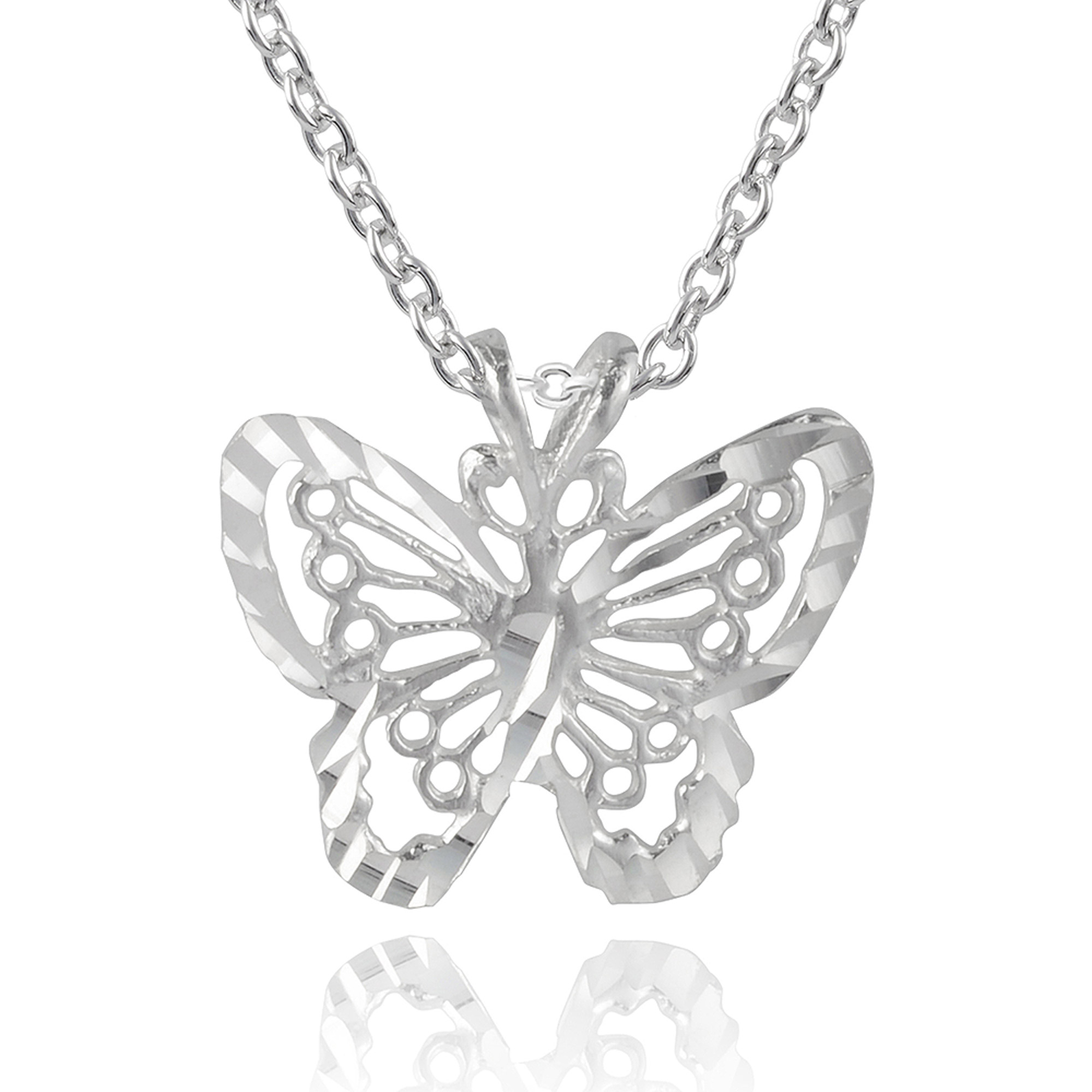 """Brinley Co. Women's Sterling Silver Butterfly Pendant Fashion Necklace, 18"""""""