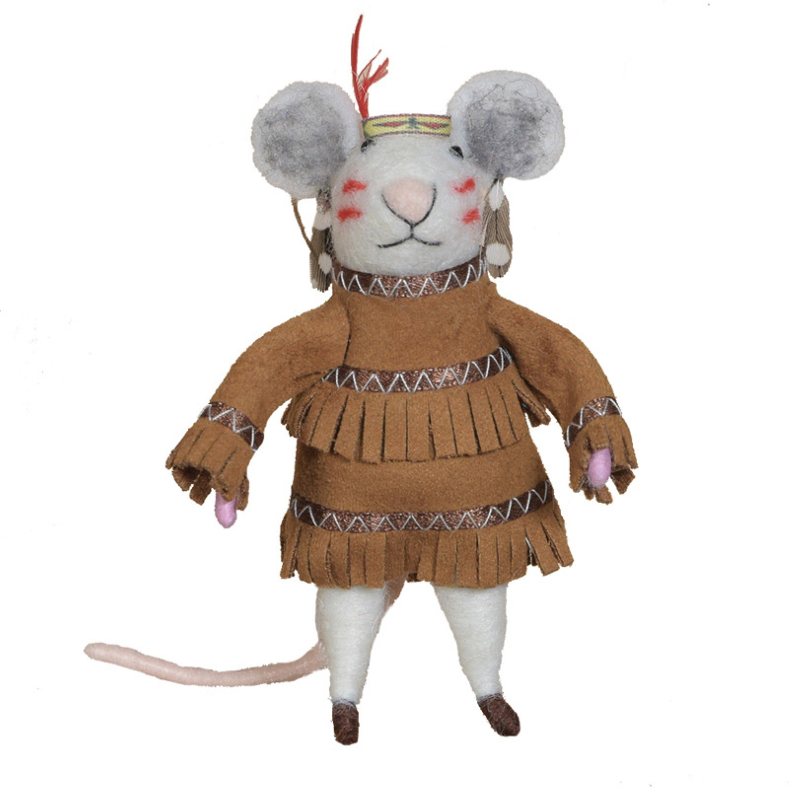 Felt Native American Mouse Ornament