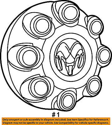 Ram Chrysler Oem 13 16 3500 Wheels Center Cap 1xf55s4aaa