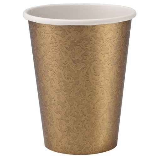 Lillian Dinnerware Paper Hot Cups, 9 Oz, Gold Texture, 24 Ct