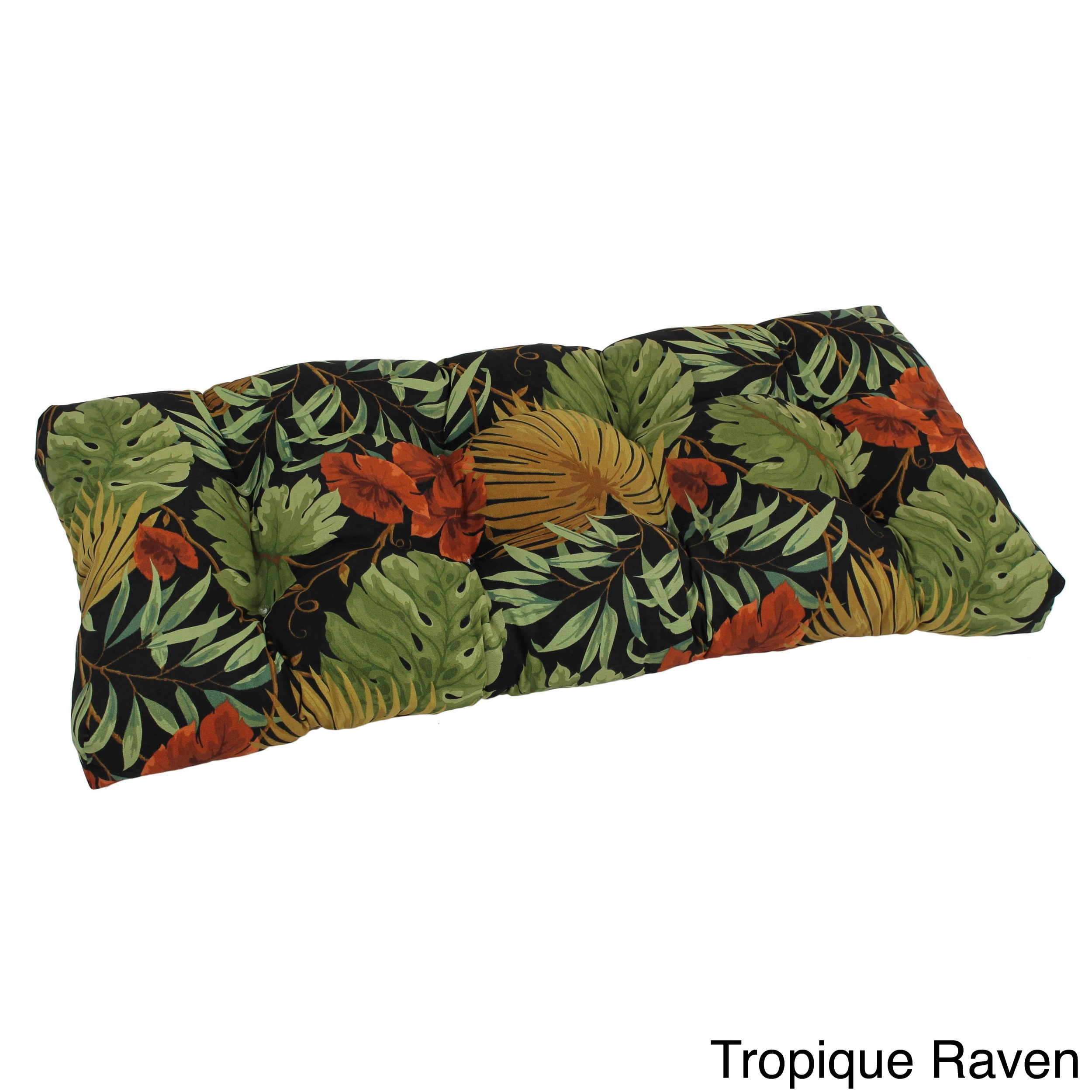 Blazing Needles  Tropical/ Stripe All-weather Outdoor Loveseat Bench Cushion