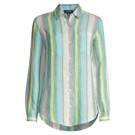 Striped Linen Button Front Shirt - Loden Striped Linen Button Front Shirt