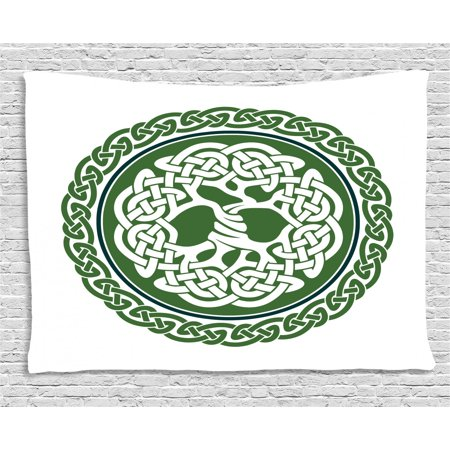 Celtic Tapestry, Illustration of Celtic Tree of Life on a Green Circle with Frieze, Wall Hanging for Bedroom Living Room Dorm Decor, 60W X 40L Inches, White Dark Teal Fern Green, by Ambesonne