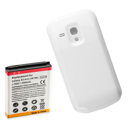 4000mAh Extended Battery + White Battery cover Door for Samsung Galaxy S3 Mini i8190