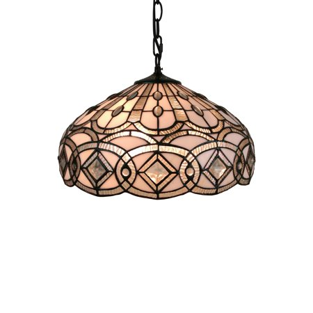 Amora Lighting AM295HL16 Tiffany Style White Hanging Lamp 16 Inches Wide ()