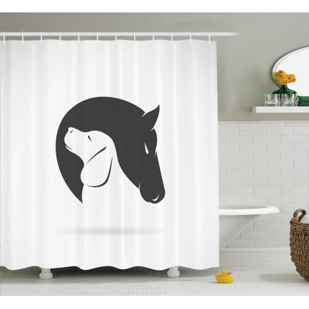 Animal decor shower curtain set contemporary illustration for Animal bathroom decor
