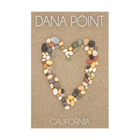 Dana Point, California - Stone Heart on Sand Print Wall Art By Lantern Press - City Of Dana Point Halloween