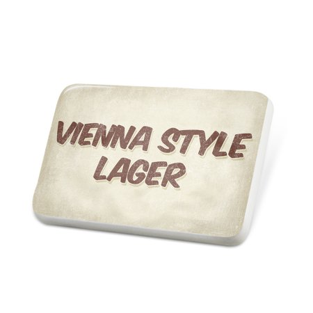 Porcelein Pin Vienna Style Lager Beer, Vintage style Lapel Badge –