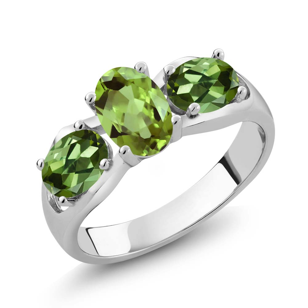1.80 Ct Oval Green Peridot Green Tourmaline 14K White Gold Ring by