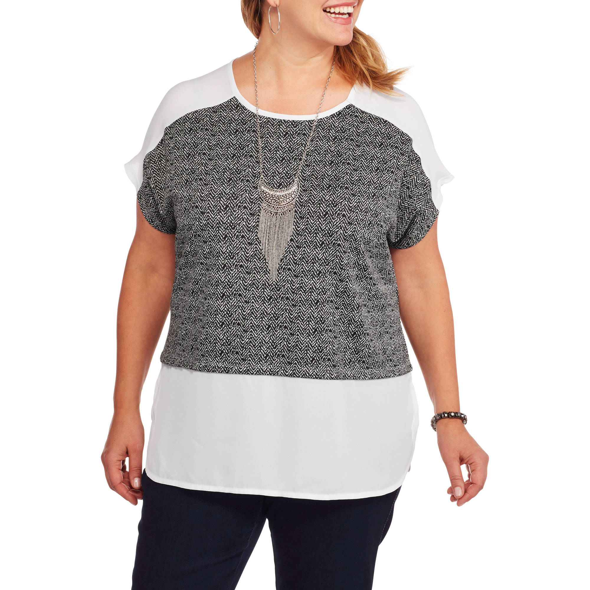 Concepts Women's Plus Mixed Texture Knit Top with Georgette Inset