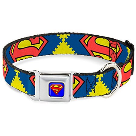 Dog Collar SMC-Superman Blue - Jagged Superman Shield CLOSE-UP Yellow Blue Pet Collar - Superman Pet
