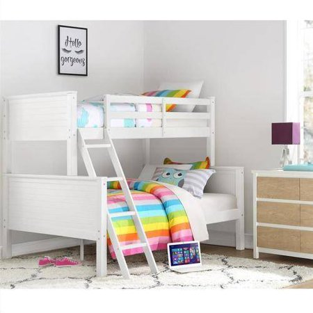 Your zone twin over full bunk bed white for Furniture zone beds