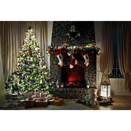 GreenDecor Polyster 7x5ft Christmas Tree Decorating Photography Backdrops Gift Socks Brick Fireplace Photo Background Studio Prop](Christmas Fireplace Props)
