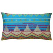 Koko Company 91718 Java Bright- Pillow- 15X27- Cotton- Ikat Inspired- Embroidery And Applique.