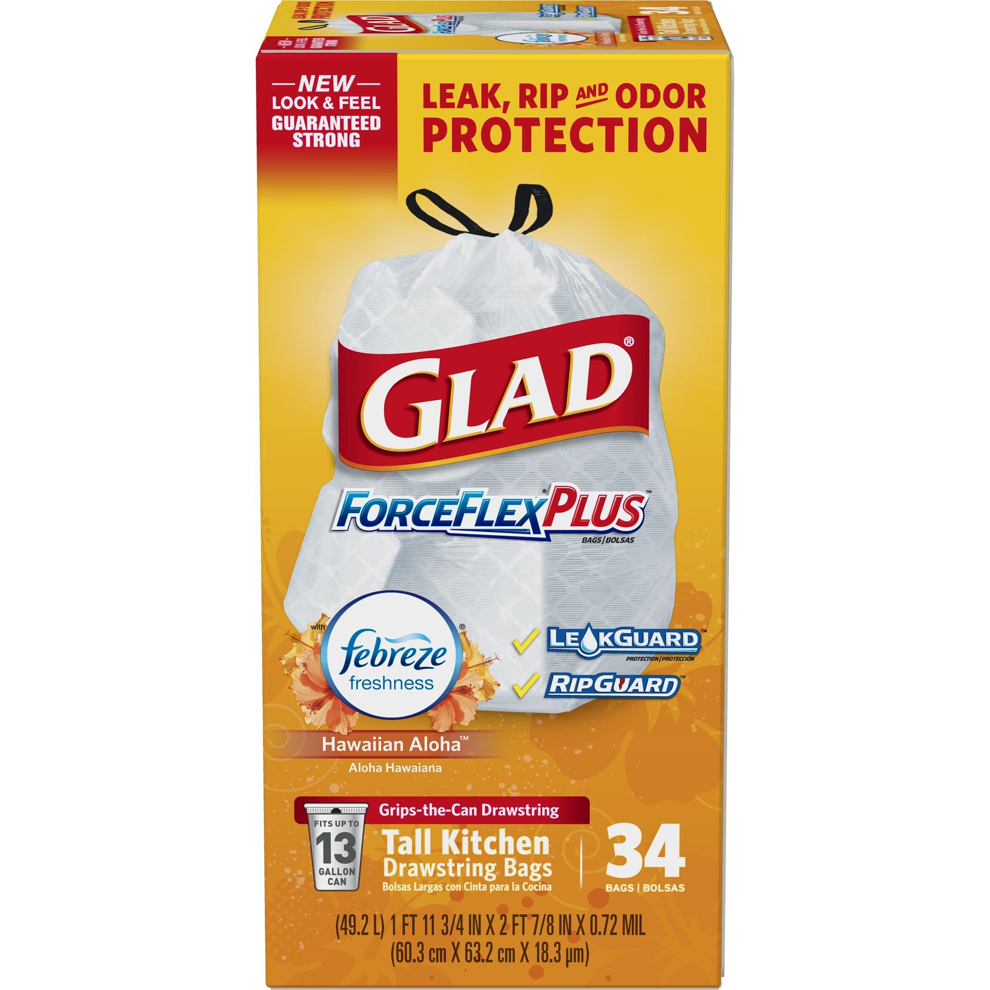 Glad ForceFlexPlus Tall Kitchen Drawstring Trash Bags - Febreze Hawaiian Aloha- 13 Gallon - 34 ct