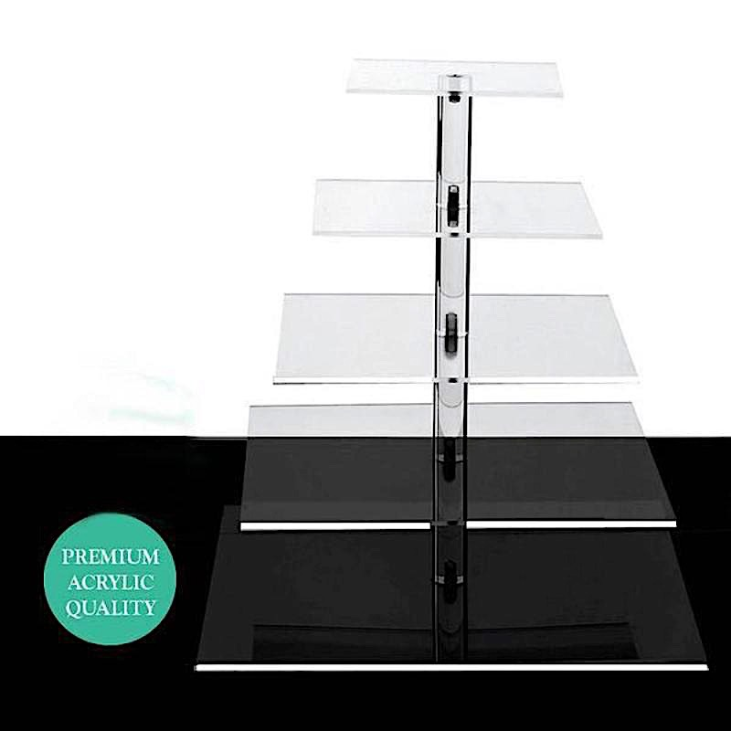 BalsaCircle Clear 5 Tiers Premium Square Crystal Acrylic Cupcake Stand - Wedding Party Decorations Dessert Display Pedestal