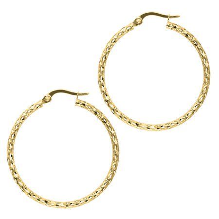 - 14K Yellow Gold 1.5x27mm Shiny Diamond Cut Fashion Sparkle Large Hoop Earrings with Hinged