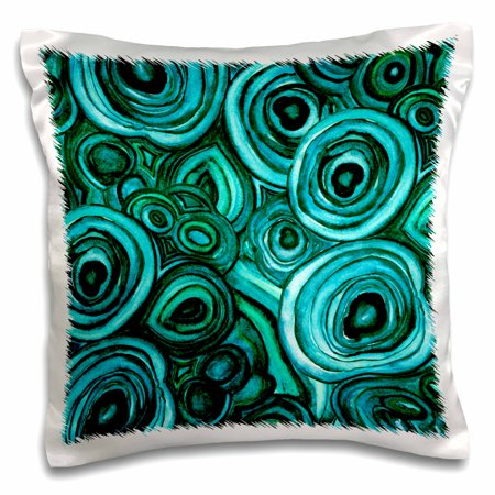 3dRose Image of Trendy Green Malachite Agate Gemstone Pattern - Pillow Case, 16 by 16-inch