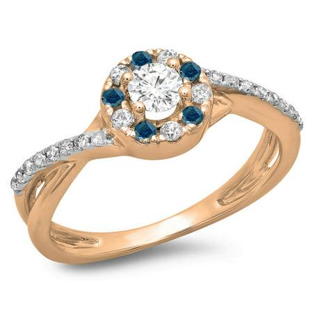 0.50 Carat (ctw) 10K Rose Gold Round Cut Blue & White Diamond Ladies Swirl Split Shank Bridal Halo Engagement Ring 1/2 C