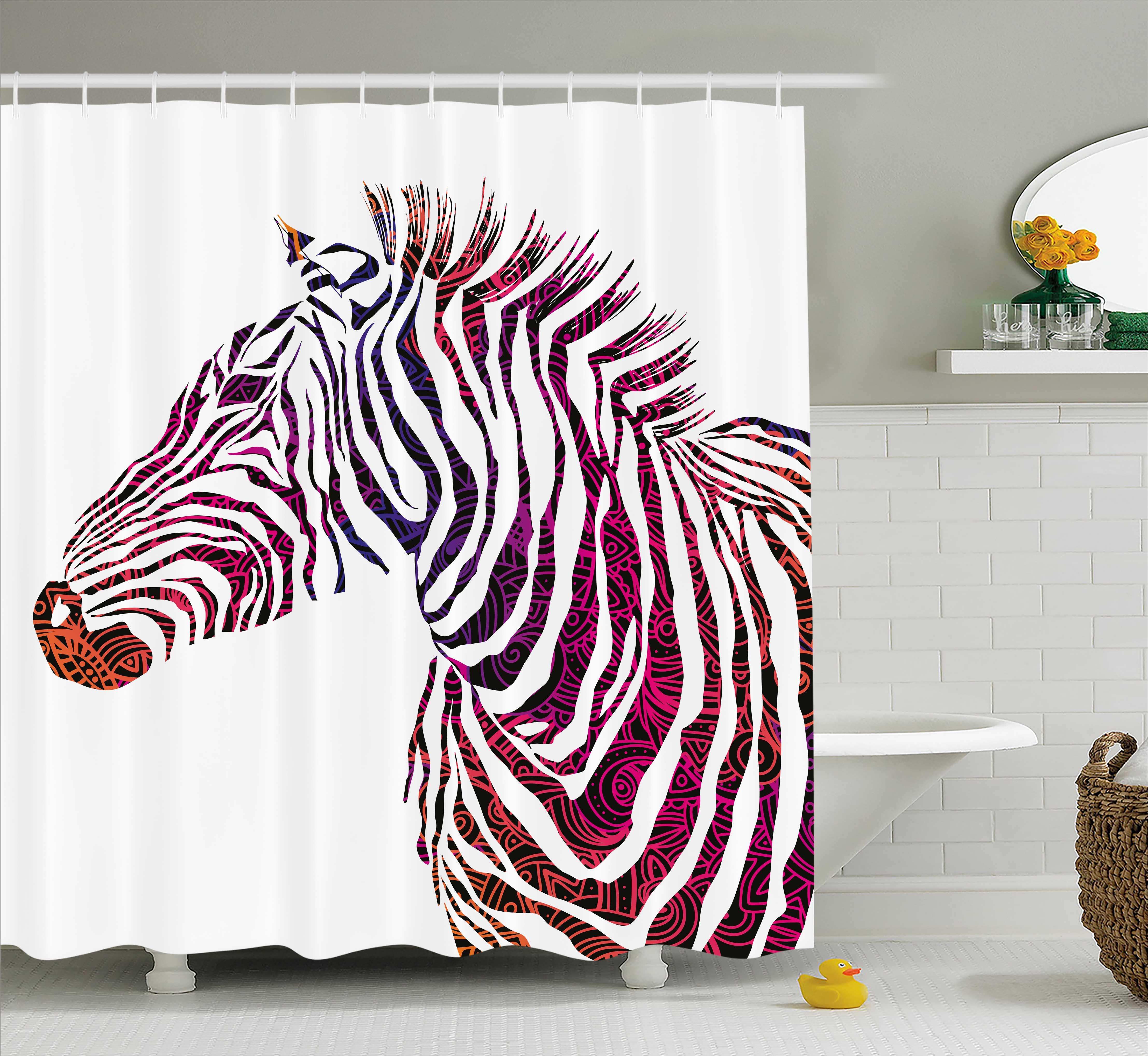 Animal Shower Curtain, Ornamental Zebra Profile Silhouett...
