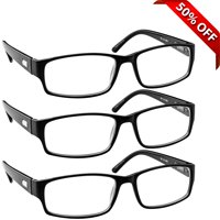 Tuvision Readers +1.50 Reading Glasses for Men and Women, Black, 3 Pack