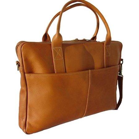 Leather Portfolio w Large Front & Back Zip-Pockets in Saddle