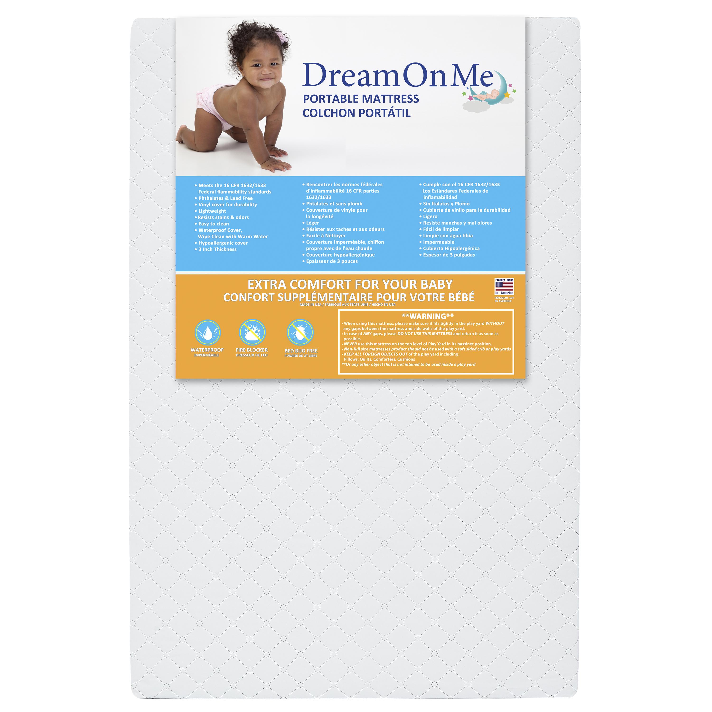 Dream On Me, 3'' Extra Firm Mini/Portable Crib Mattress, White