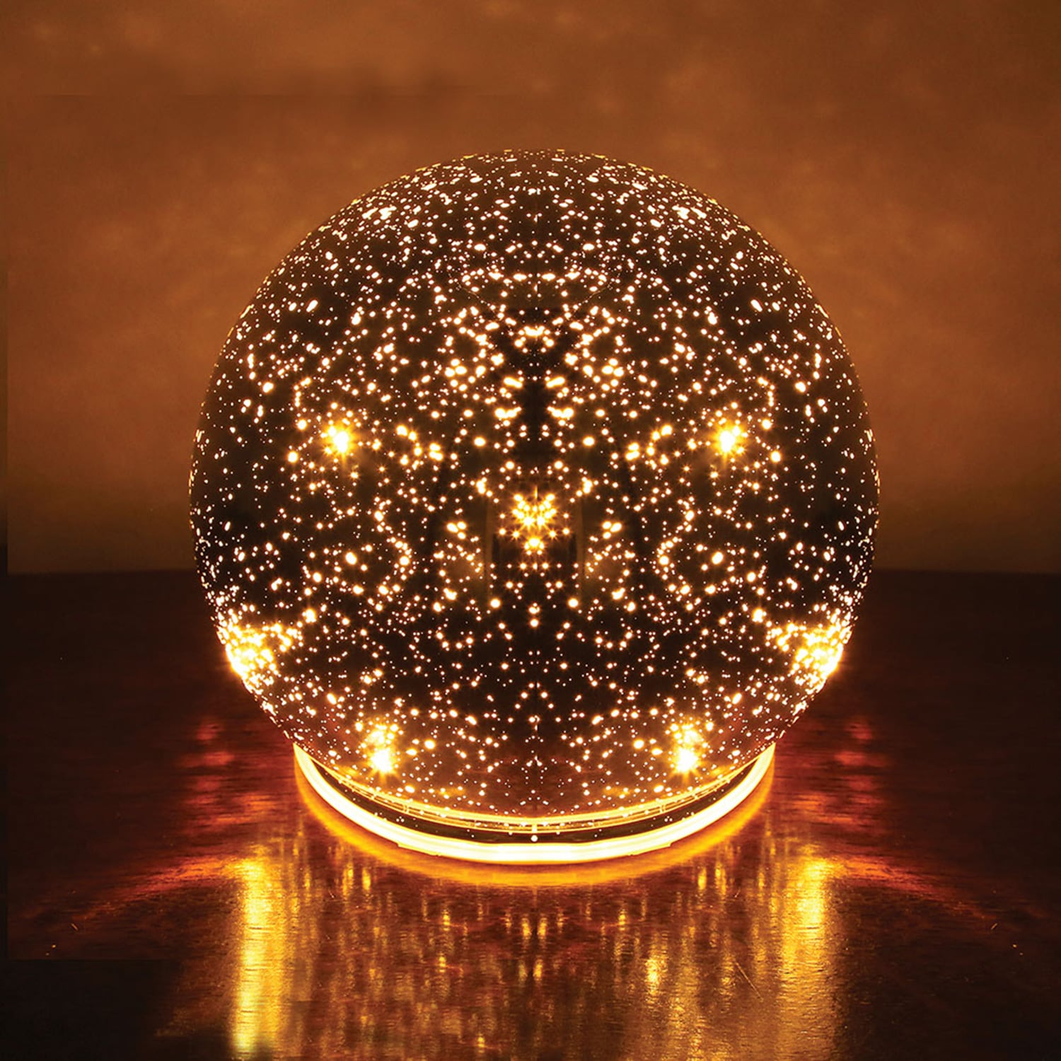 SIGNALS Lighted Mercury Glass Ball Sphere Holiday Home Decor Nightlight Accent Light Large Silver