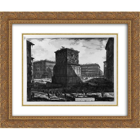 Giovanni Battista Piranesi 2x Matted 24x20 Gold Ornate Framed Art Print 'View of the pedestal of the Apotheosis of Antoninus Pius and his wife Faustina in the Piazza di Monte Citorio'