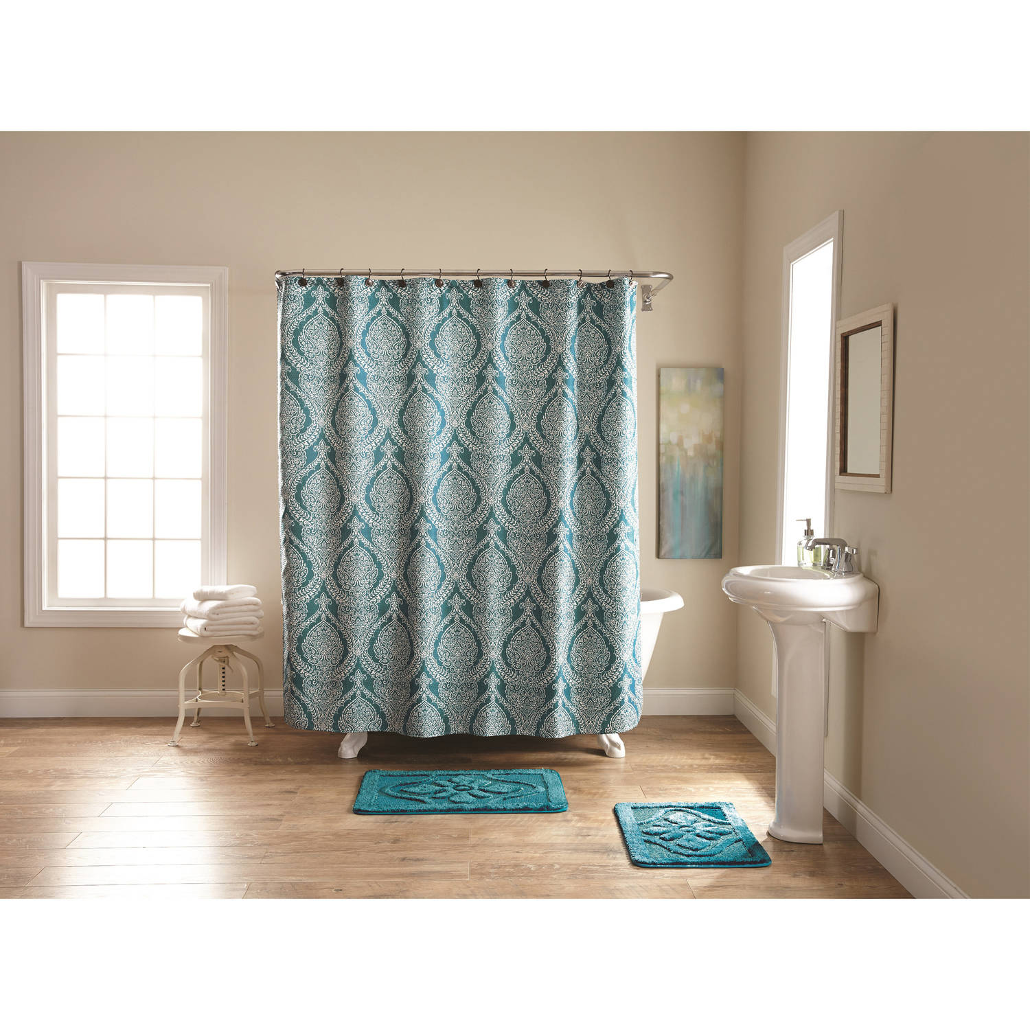 Better Homes and Gardens Teal Damask Fleur 15-Piece Bath in a Bag Set, Shower Curtain and Bath Rugs Included