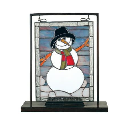 Meyda Tiffany 68340 Snowman Lighted Decorative Mini Tabletop Window, 9.5