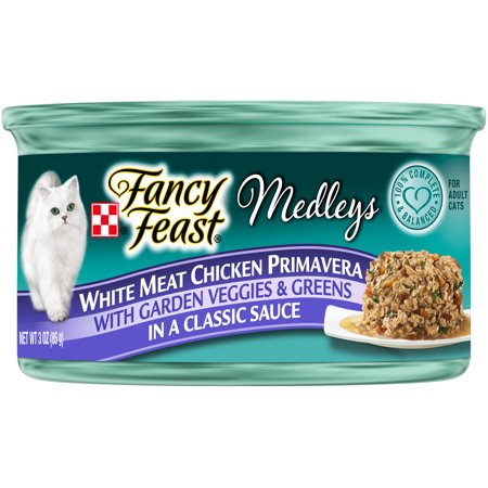 Fancy Feast Gravy Wet Cat Food, Medleys White Meat Chicken Primavera - (24) 3 oz. Cans (Meat Platter Cart)