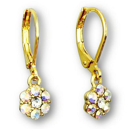Girls Crystal Flower Hoop Earrings For Kids   Gold Plated Leverback Earrings For Little Girls   Little Girl Earrings   Hypoallergenic Kids Earrings Set For Girls…