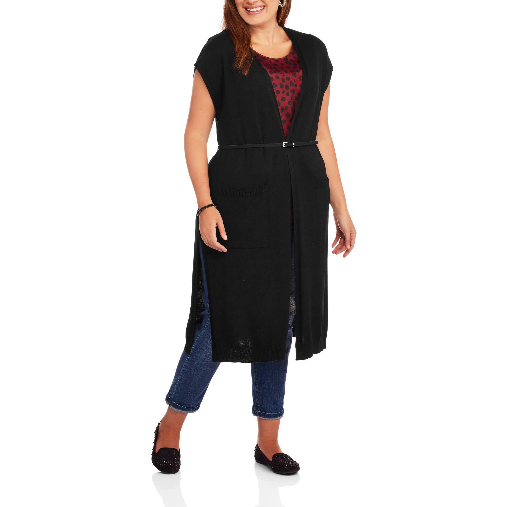 Heart and Crush Women's Plus Long Sleeveless Cardigan Sweater with Belt