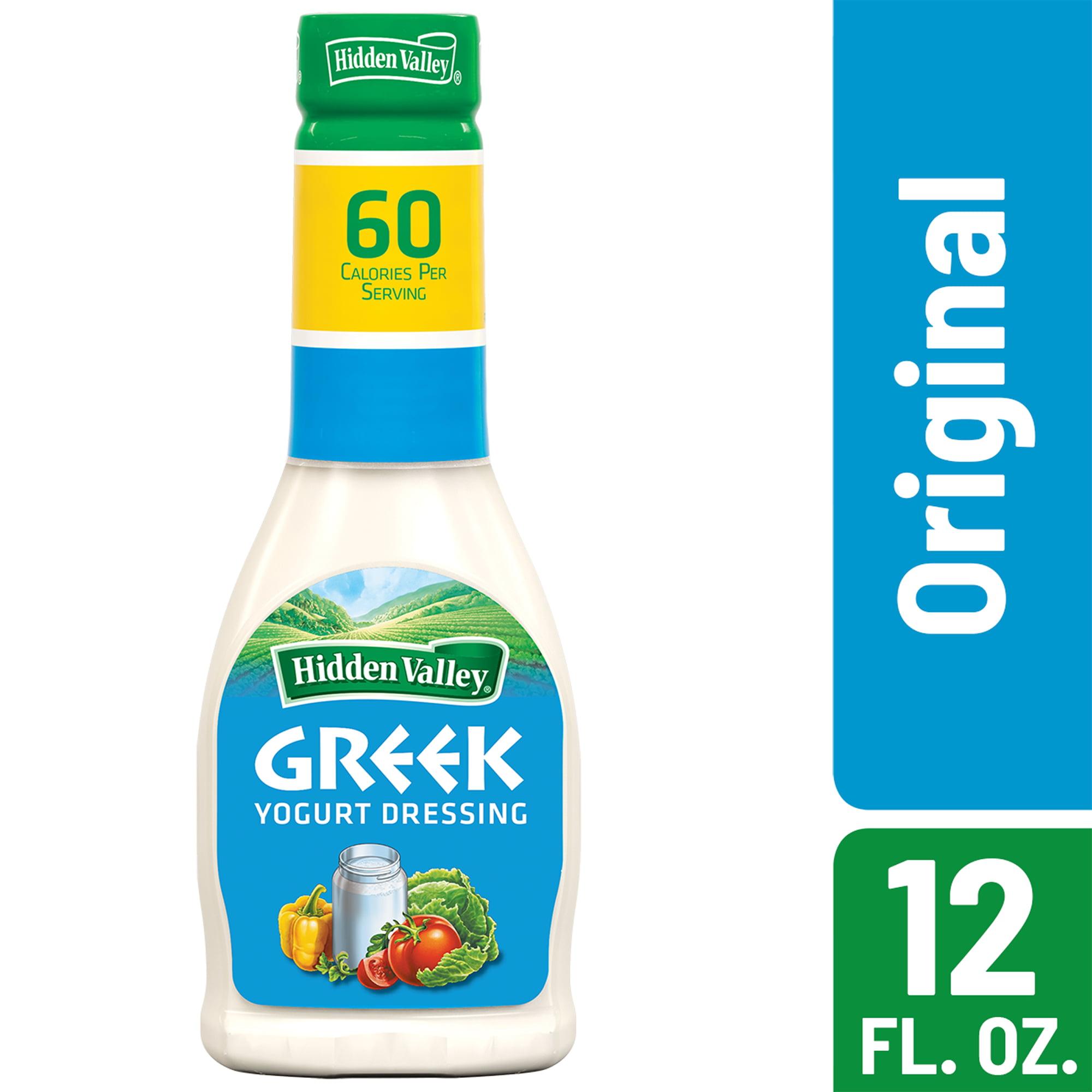 (2 Pack) Hidden Valley Greek Yogurt Original Ranch Salad Dressing & Topping, Gluten Free - 12 Oz Bottle