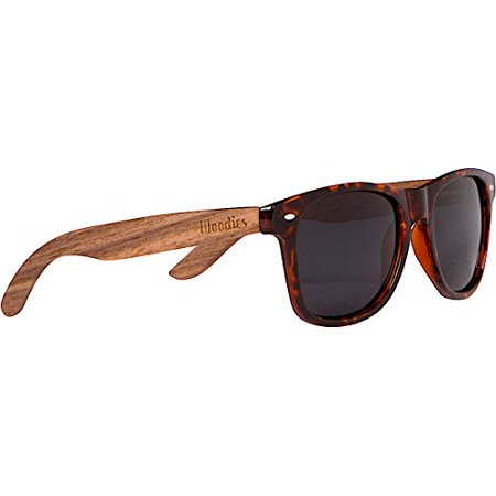 WOODIES Walnut Wood Sunglasses with Tortoise Shell Frame Blades Tortoise Shell