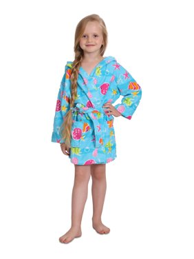 Girls Cotton Hooded Terry Robe Cover Up, Kids Sizes 3-12