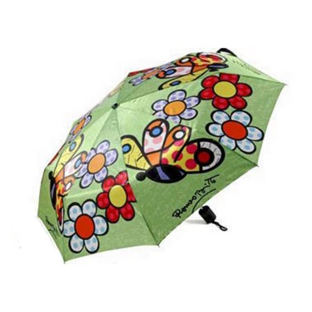 Romero Britto *Butterfly and Flowers* Compact Folding Umbrella Manuel (Flowers That Open And Close With The Sun)