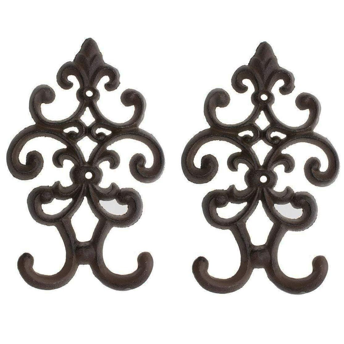 Comfify Cast Iron Vintage Double Wall Hook Decorative Wall Mounted Coat Hanger 7 75 X4 8 With Screws And Anchors Set Of 2 Walmart Com Walmart Com