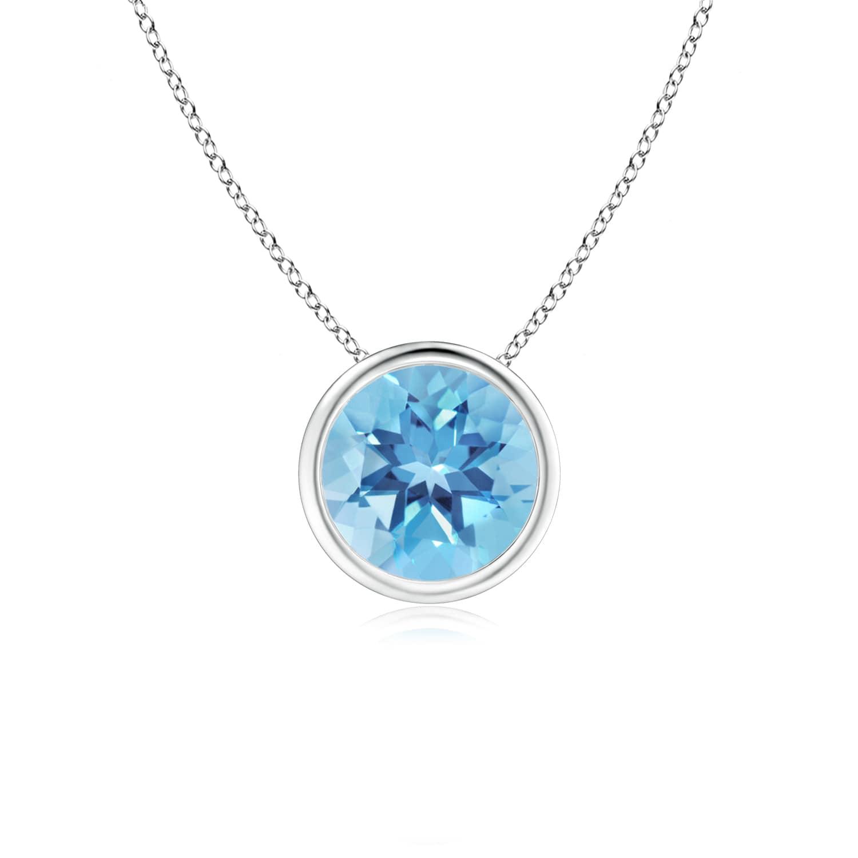Angara Round Swiss Blue Topaz Bezel-Set Necklace for Her in White Gold BUbitoBx