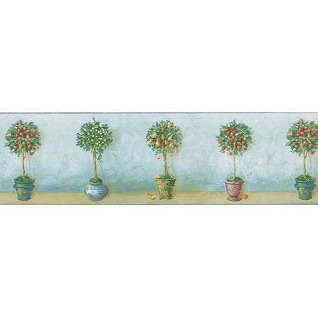 Fruit Trees in Beautiful Retro Pots Teal Wallpaper Border Vintage Design, Roll 15' x 7'' - image 2 of 3