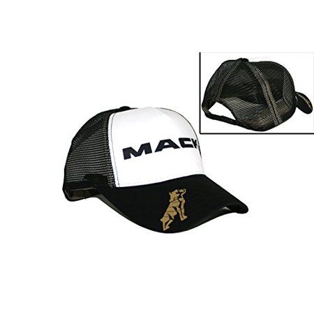 Mack Trucks Black & White Mesh Snapback Trucker Hat - Mack Truck Hats