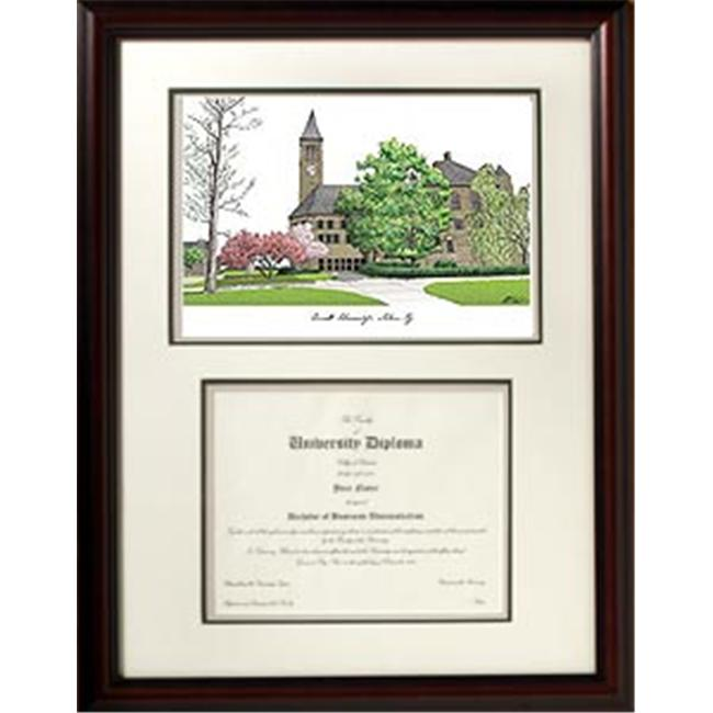 Campus Images NY996V Cornell University Scholar Framed Lithograph with Diploma