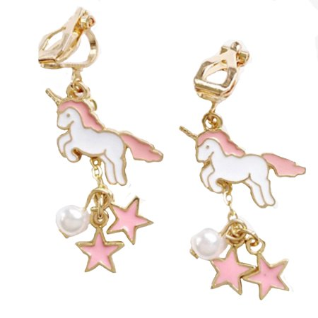 Unicorn Clip On Earrings Drop Dangle Pink White Pearl Star Unicorn Jewelry, J-57-Clip
