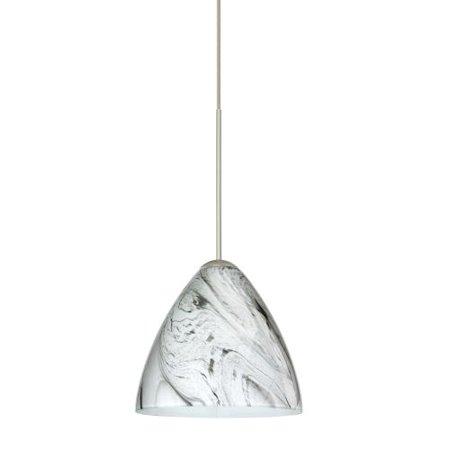 Besa Lighting 1XT-1779MG-LED Mia 1 Light LED Cord-Hung Mini Pendant with Marble Grigio Glass Shade